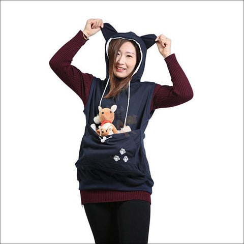 Cat Hoodie with Kangaroo Pouch navy blue by Blissfactory Pet Supplies