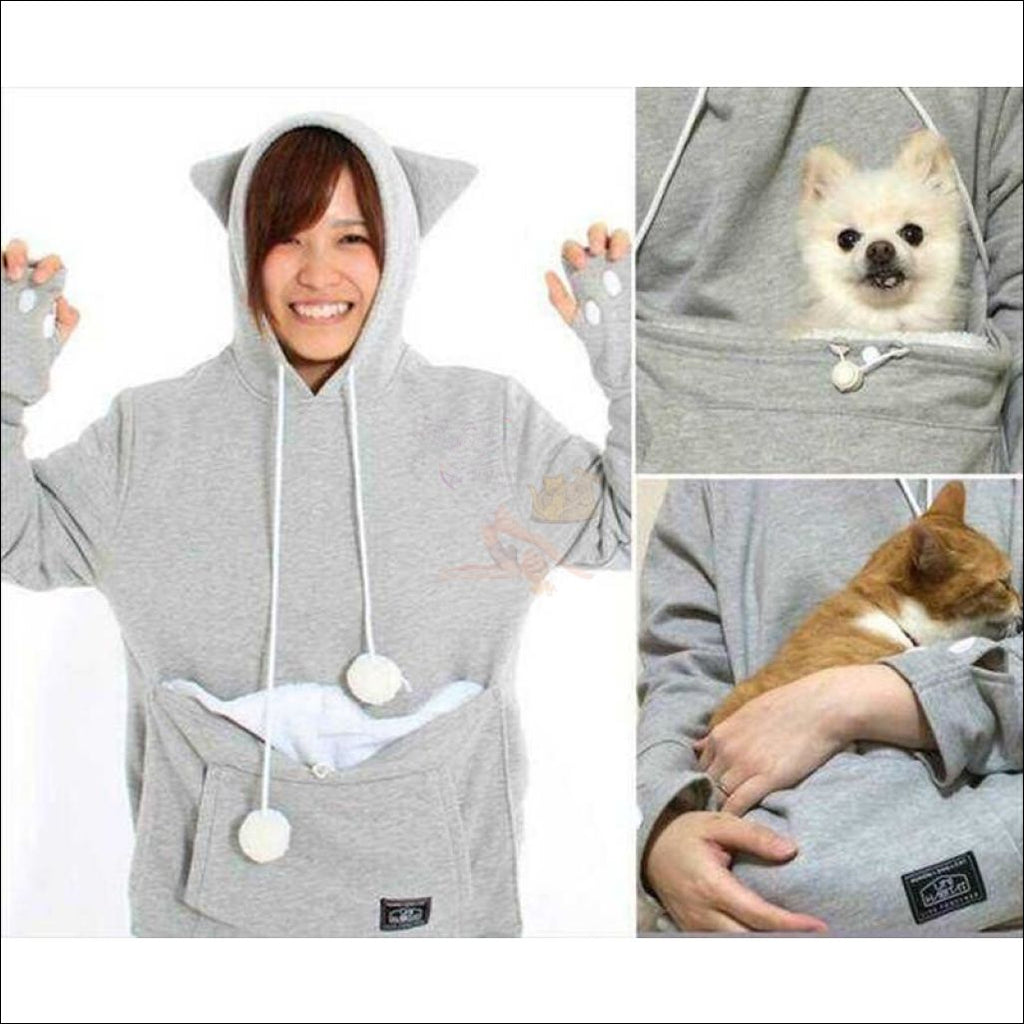 Cat Hoodie with Kangaroo Pouch gray by Blissfactory Pet Supplies