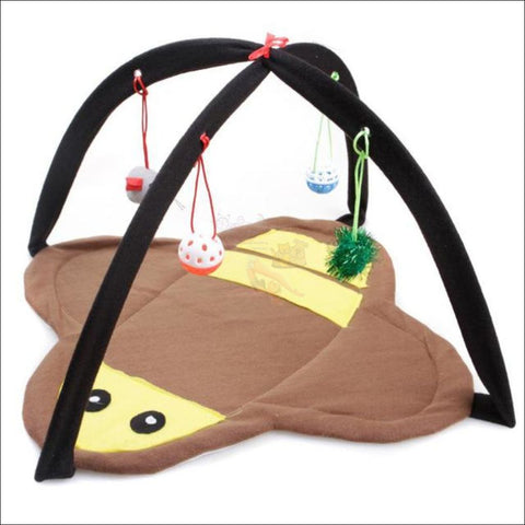 Cat Bed With Cat Toy brown bee  by Blissfactory Pet Supplies