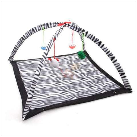Cat Bed With Cat Toy zebra adve by Blissfactory Pet Supplies