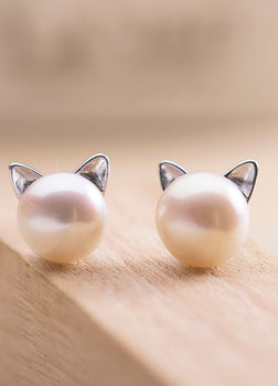 Real 925 Sterling Silver Natural White Freshwater Pearl Resizable Cat Face Earrings