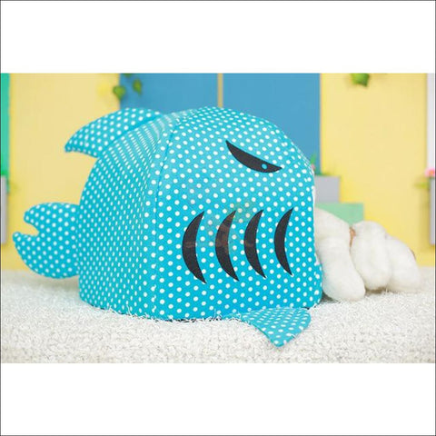 Image of Shark Design Cat House or Dog House dot blue by Blissfactory Pet Supplies
