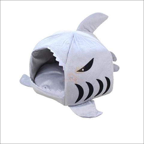 Shark Design Cat House or Dog House Grey by Blissfactory Pet Supplies