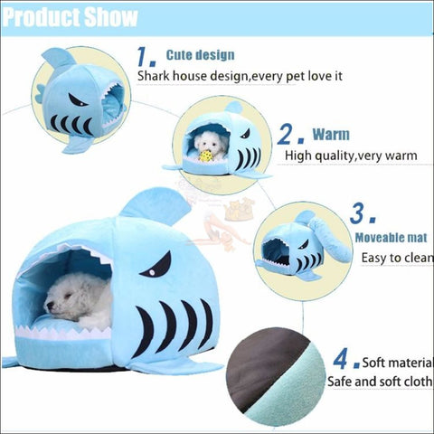 Shark Design Cat House or Dog House features by Blissfactory Pet Supplies
