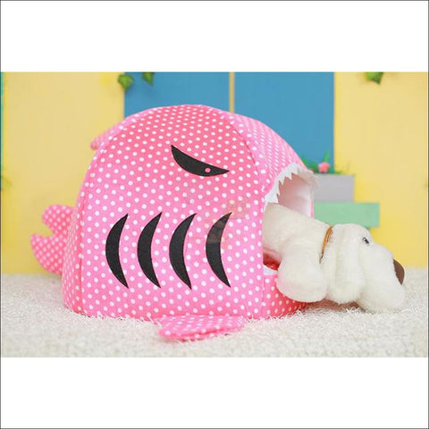 Shark Design Cat House or Dog House dot pink by Blissfactory Pet Supplies