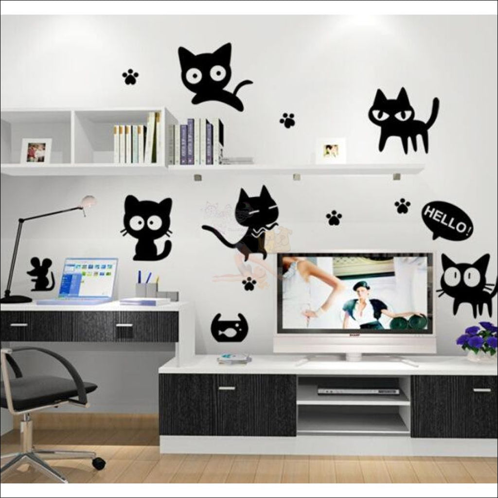 Cute Black Cat  Car Sticker by Blissfactory Pet Supplies