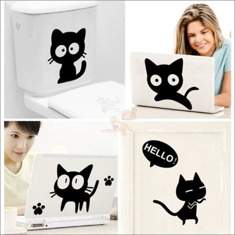Image of Cute Black Cat  Car Sticker by Blissfactory Pet Supplies