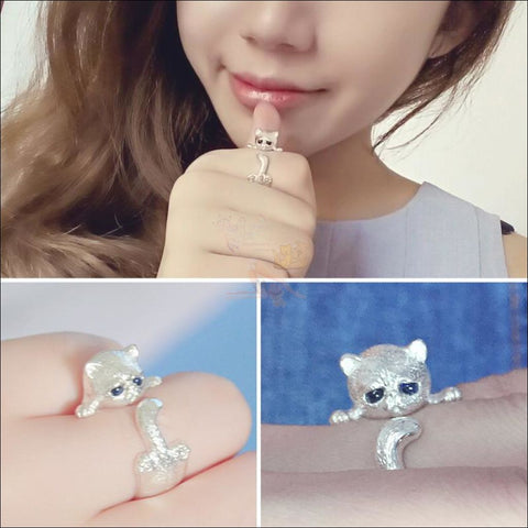 Image of Cute Cat sterling silver Rings silver platted by Blissfactory Pet Supplies