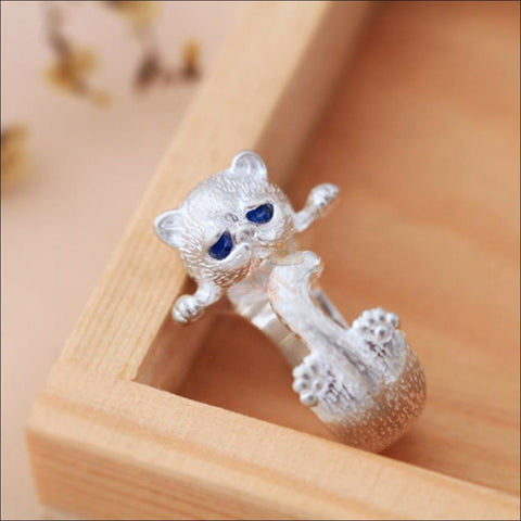 Cute Cat sterling silver Rings Silver plated by Blissfactory Pet Supplies