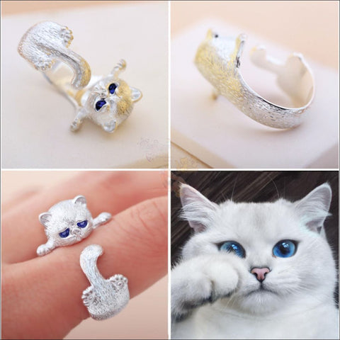 Cute Cat sterling silver Rings resizeable by Blissfactory Pet Supplies