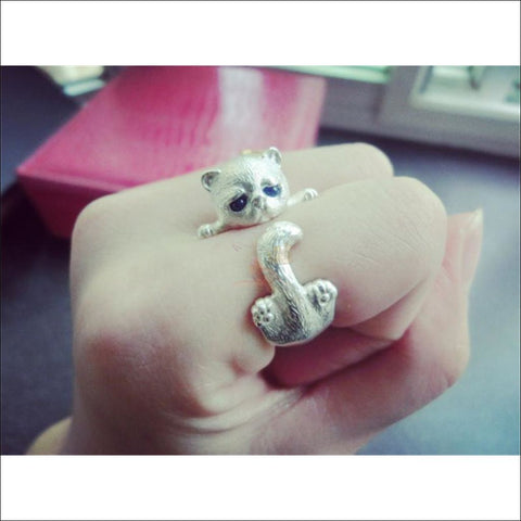 Image of Cute Cat sterling silver Rings resizeable by Blissfactory Pet Supplies