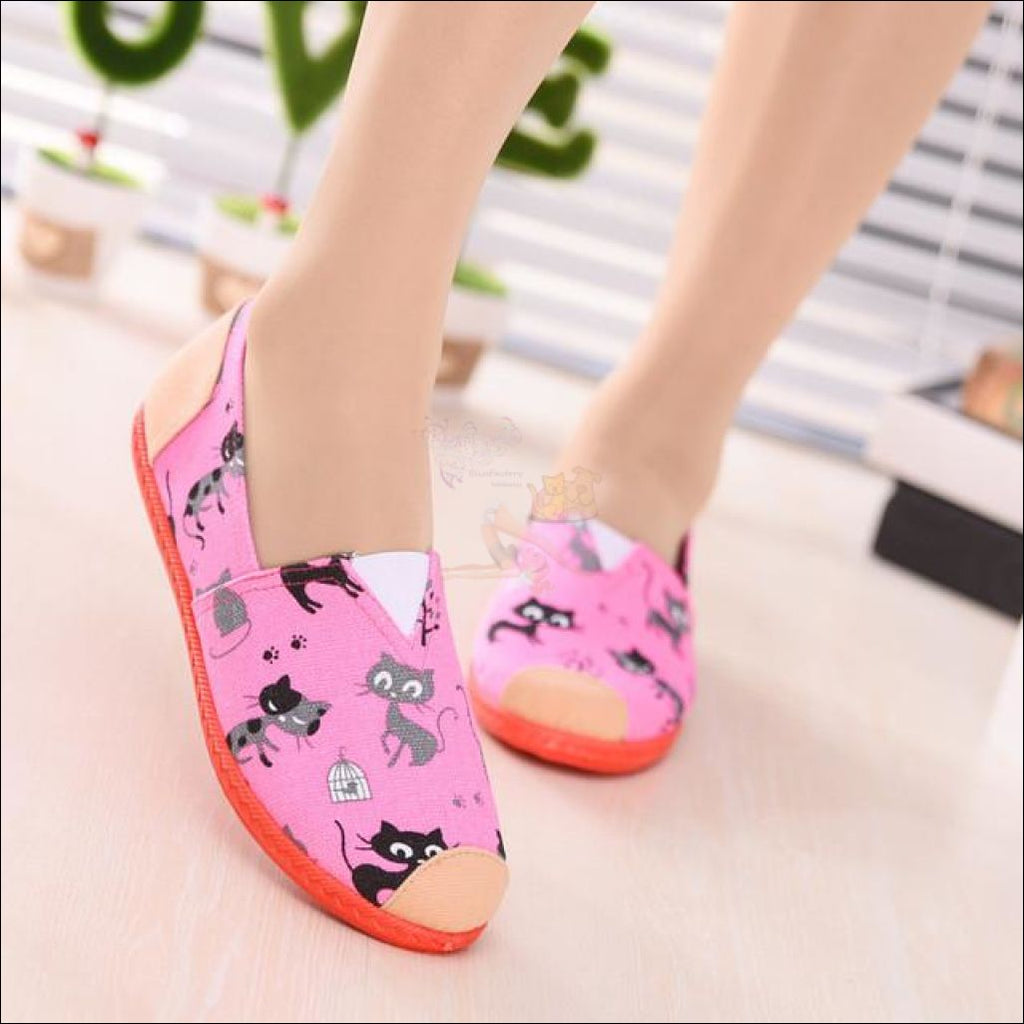 Cute Cat Canvas Loafers (Free Shipping!) Pink / 35 (5) Shoes