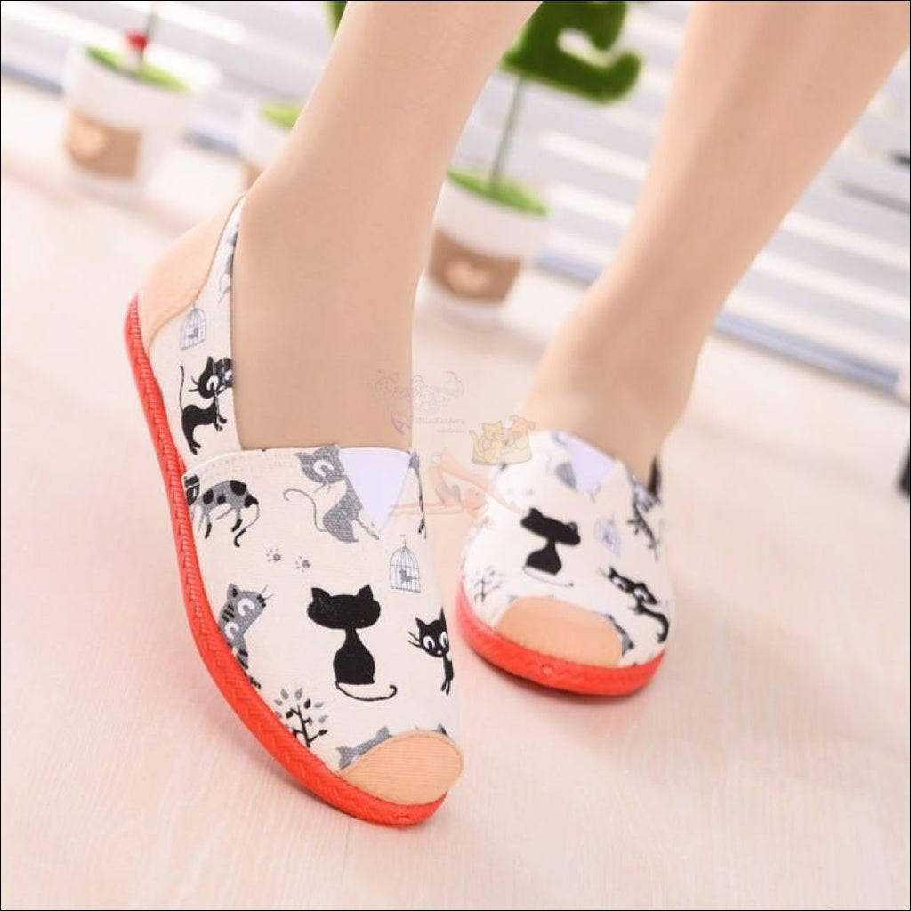 Cute Cat Canvas Loafers (Free Shipping!) White / 35 (5) Shoes