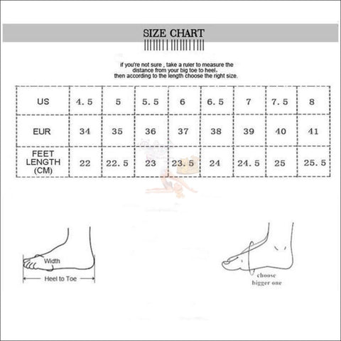 Cute Cat Penny Loafers size chart  by Blissfactory Pet Supplies