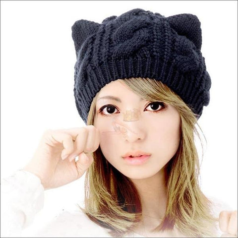 Image of Lovely Cat Ear Beanie | Beanies for Women- Best winter hats Navy Blue by Blissfactory Pet Supplies