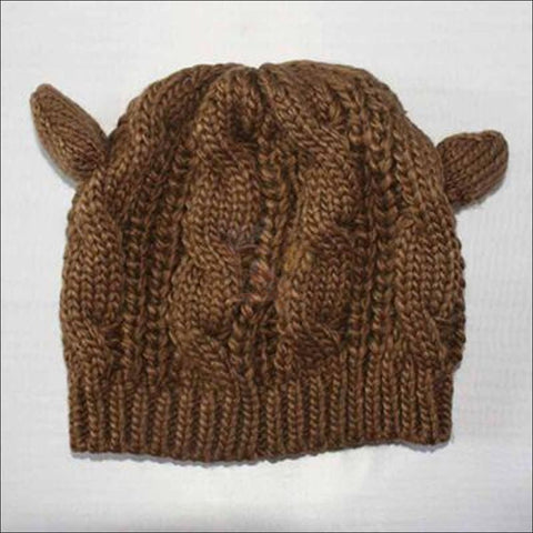 Image of Lovely Cat Ear Beanie | Beanies for Women- Best winter hats coffee by Blissfactory Pet Supplies