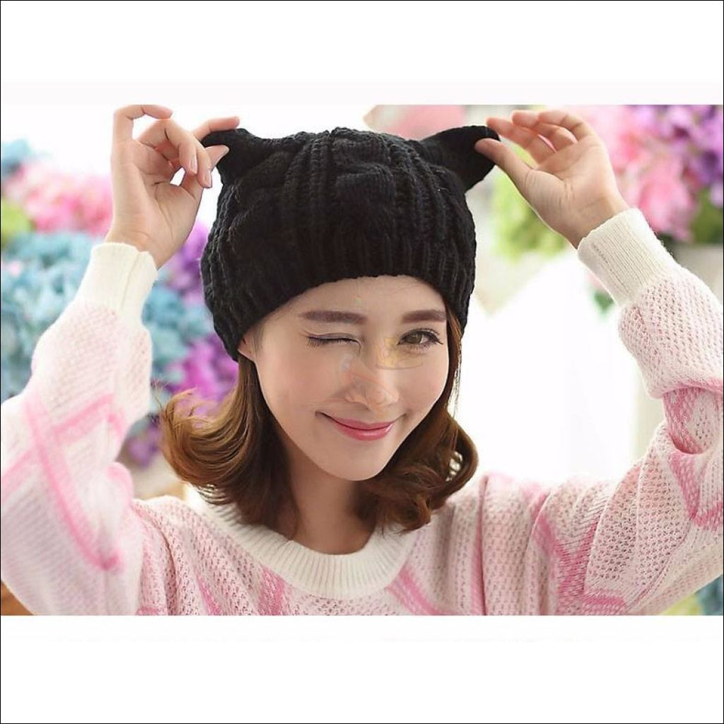 Lovely Cat Ear Beanie | Beanies for Women- Best winter hats cat ears by Blissfactory Pet Supplies