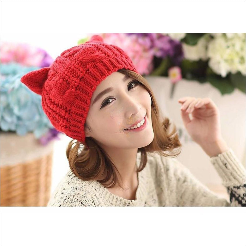 Lovely Cat Ear Beanie | Beanies for Women- Best winter hats by Blissfactory Pet Supplies