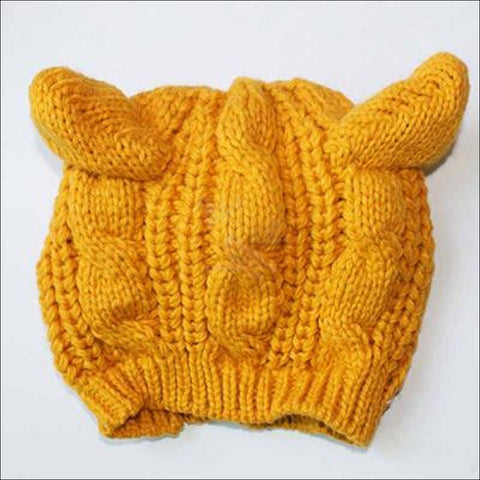 Image of Lovely Cat Ear Beanie | Beanies for Women- Best winter hats yellow by Blissfactory Pet Supplies