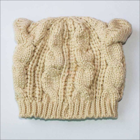Lovely Cat Ear Beanie | Beanies for Women- Best winter hats beige by Blissfactory Pet Supplies