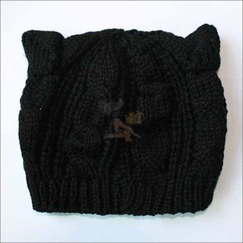 Image of Lovely Cat Ear Beanie | Beanies for Women- Best winter hats Black by Blissfactory Pet Supplies