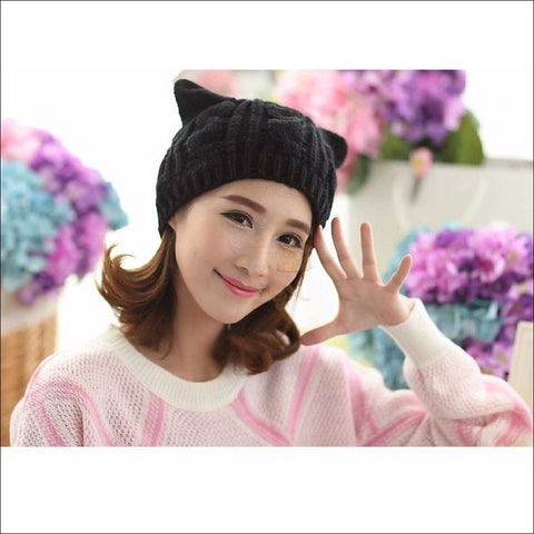 Image of Lovely Cat Ear Beanie | Beanies for Women- Best winter hats by Blissfactory Pet Supplies