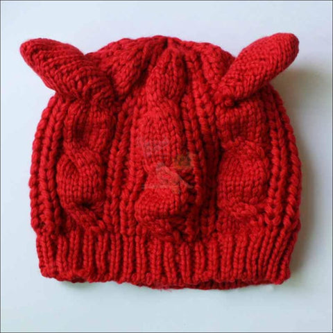 Lovely Cat Ear Beanie | Beanies for Women- Best winter hats Red by Blissfactory Pet Supplies