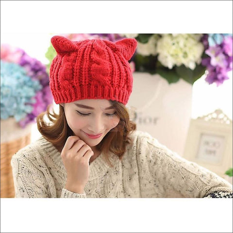 Lovely Cat Ear Beanie | Beanies for Women- Best winter hats color red by Blissfactory Pet Supplies