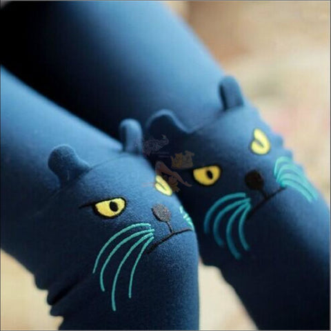 Cute Cat Thigh High Socks for women  by Blissfactory Pet Supplies