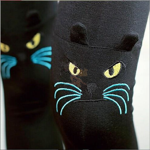 Cute Cat Thigh High Socks for women cat face by Blissfactory Pet Supplies