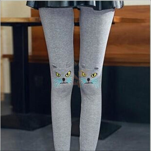 Image of Cute Cat Thigh High Socks for women gray by Blissfactory Pet Supplies