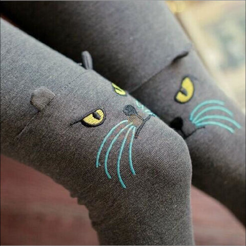 Cute Cat Thigh High Socks for women dark gray by Blissfactory Pet Supplies