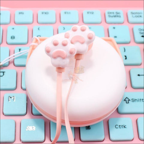 Image of Cute Cat Paw Earphones pink by Blissfactory Pet Supplies