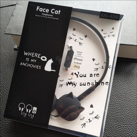 Cute Cat Ear  Headphones black by Blissfactory Pet Supplies