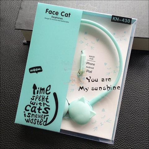 Cute Cat Ear  Headphones Blue by Blissfactory Pet Supplies