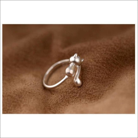 Cute & Elegant 925 Silver Cat  Ring by Blissfactory Pet Supplies