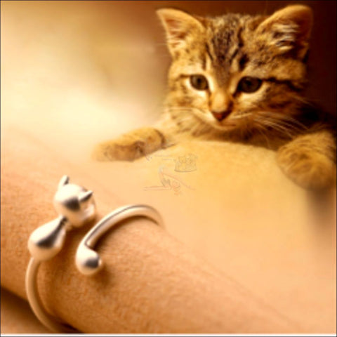 Image of Cute & Elegant 925 Silver Cat  Ring by Blissfactory Pet Supplies