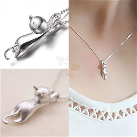 Image of Cute Hanging Cat Necklace (Free Shipping) Necklaces