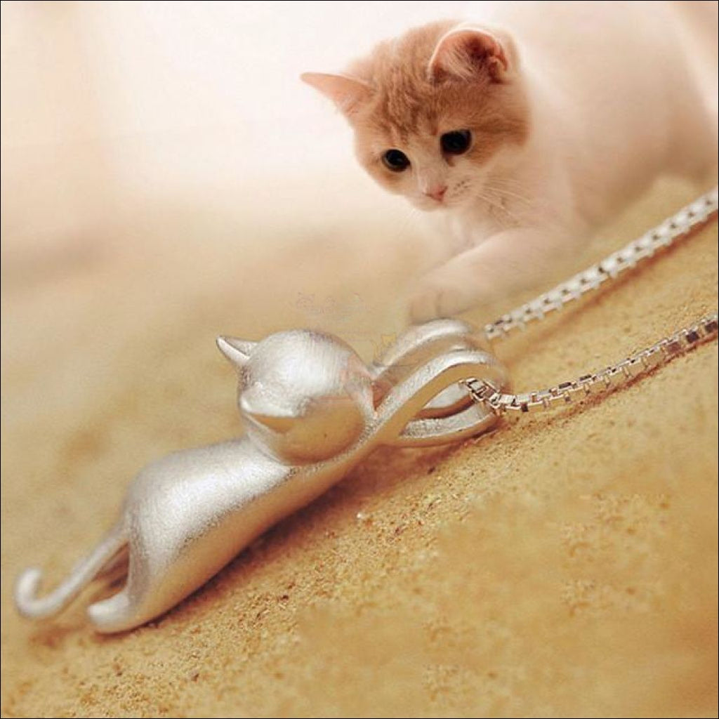 Cute Cat Pendant Necklace For Women 14k White Gold Platted by Blissfactory Pet Supplies