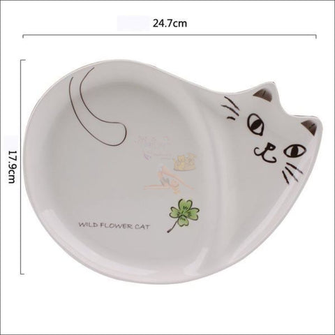 Image of Cute Hand-Painted  Cat Dinner Plates, Best Dinnerware  by Blissfactory Pet Supplies
