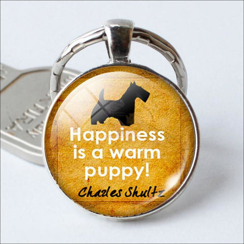 Cute Keychains, Dog Keychains - Happiness is a warm puppy! by Blissfactory Pet Supplies