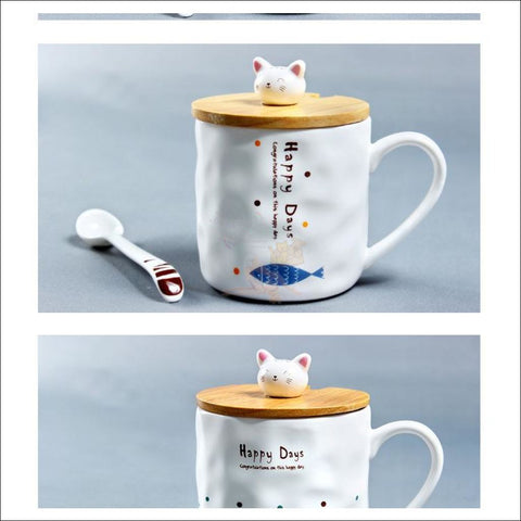 Image of Cute Kitty and Fishy Coffee Mugs, best Teacup dsign  by Blissfactory Pet Supplies