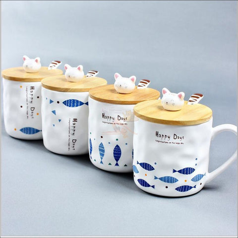 Cute Kitty And Fishy Ceramic Cup With Spoon Wooden Cover