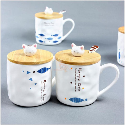 Image of Cute Kitty and Fishy Coffee Mugs, best Teacup by Blissfactory Pet Supplies