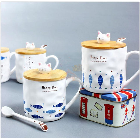 Image of Cute Kitty and Fishy Coffee Mugs, best Teacup ceramic mug by Blissfactory Pet Supplies