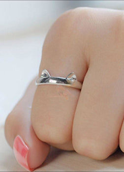 Cute Silver Plated Kitten Ring