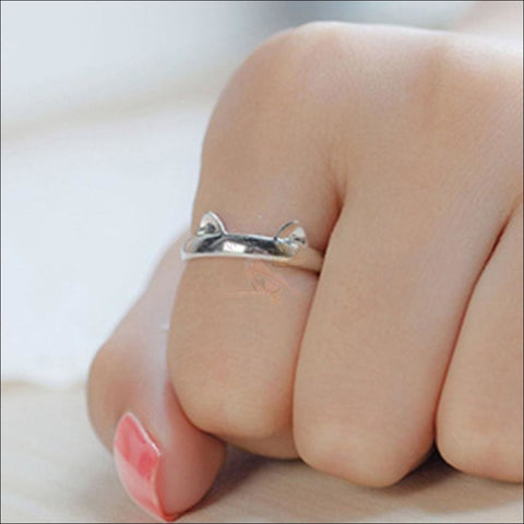 Cute Silver Plated Kitten Ring Rings