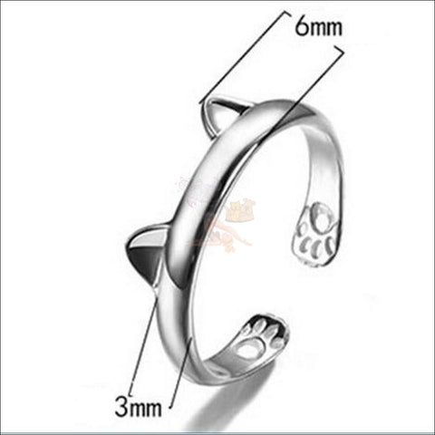 Cute Silver Plated Cat Promise Rings design by Blissfactory Pet Supplies