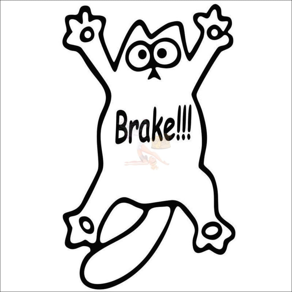Cute Simon's Cat Vinyl Sticker - Brake! Black Drawing