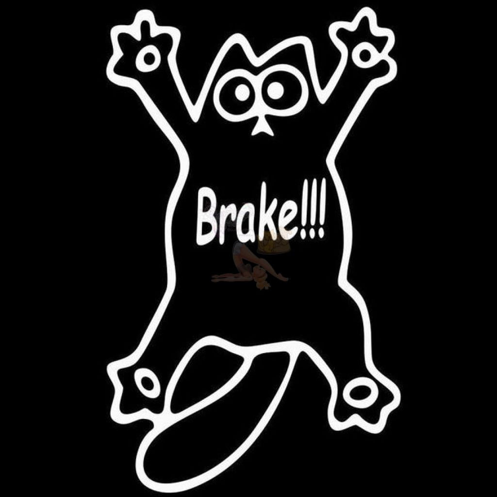 Cute Simon's Cat Vinyl Sticker - Brake! White Drawing